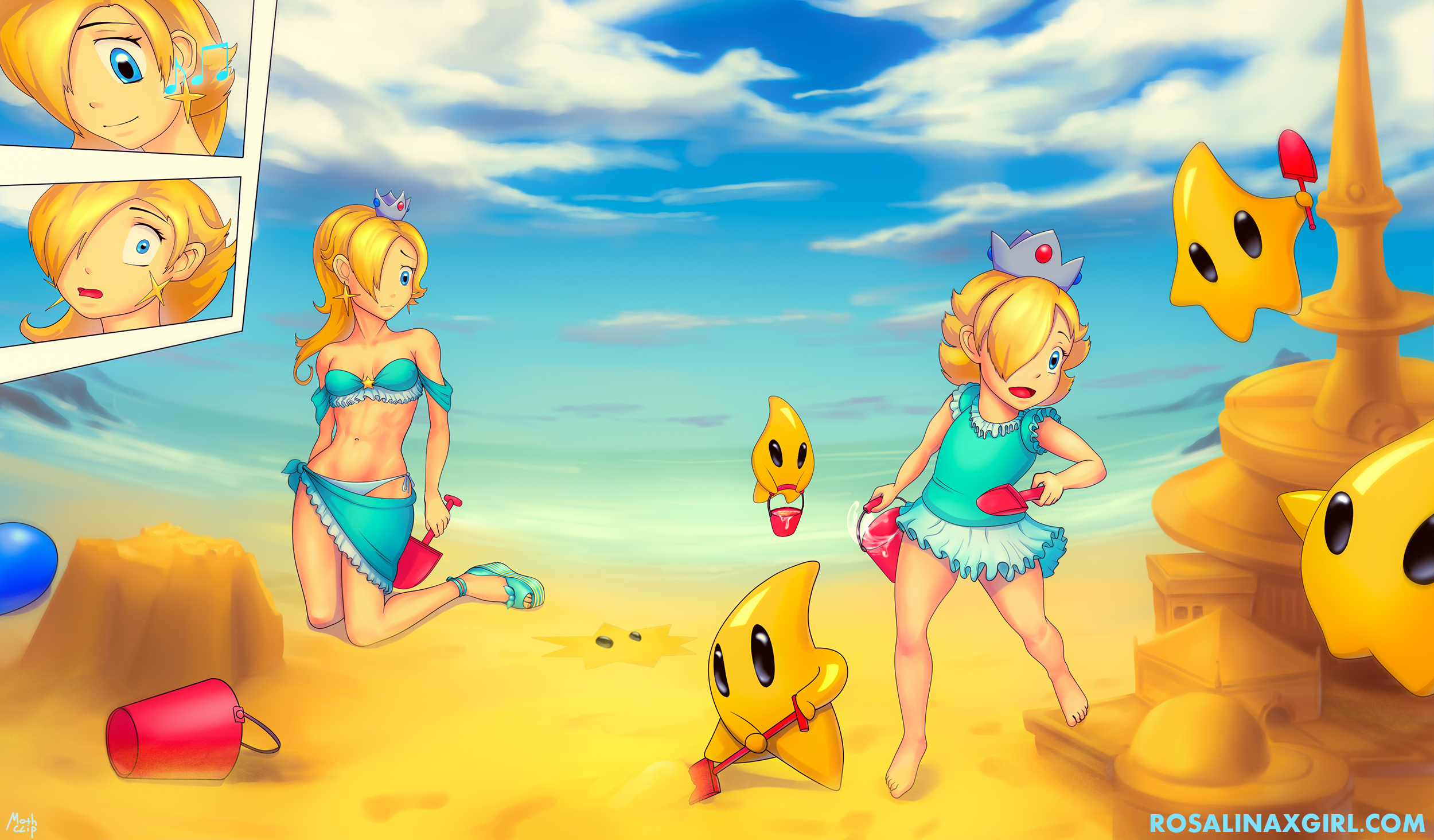 princess baby Rosalina nintendo luma beach summer sandastle walllpaper cute
