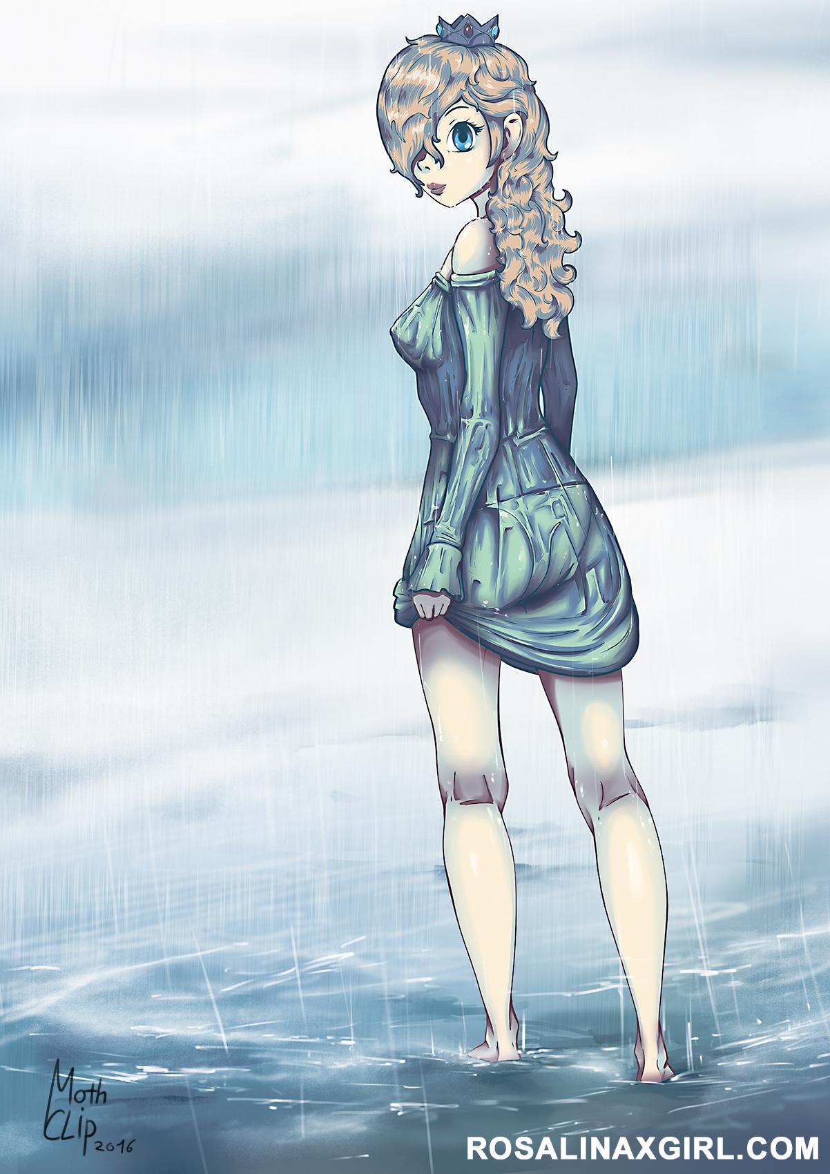princess Rosalina nintendo under rain wet wetlook