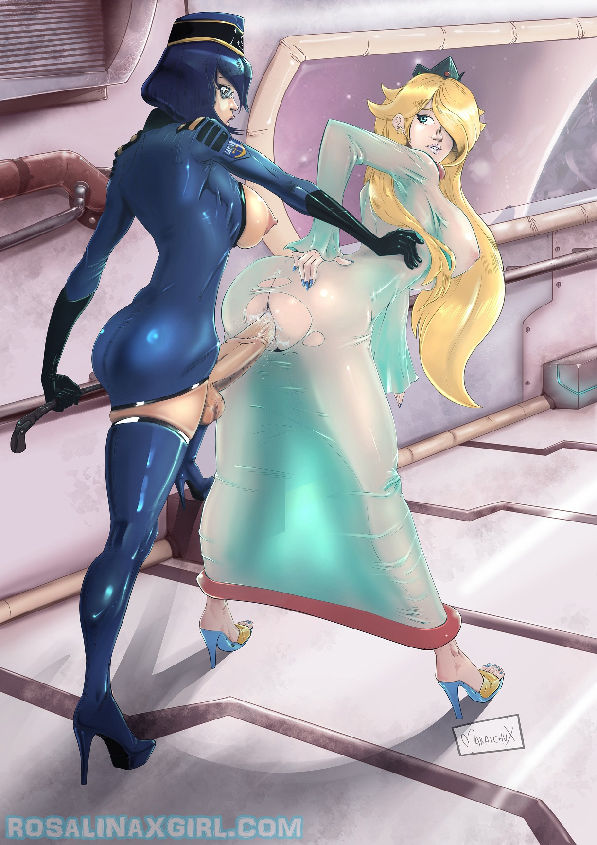 princess Rosalina nintendo mario yuri lesbian sex futa futanari hentai porn latex pvc see-through transparent dress fetish Uchuu senkan yamato Niimi kaoru high heels