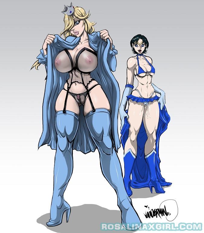 Rosalina Nintendo lesbian yuri sailor moon Amy Mizuno lingerie gown xxxbattery